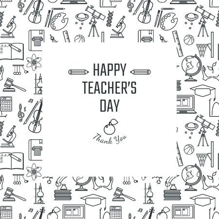 Vector Illustration of Teachers Day Vacances pour la conception, le site, fond, bannière. Carte de voeux pour Element école icône Template. icônes Sujet