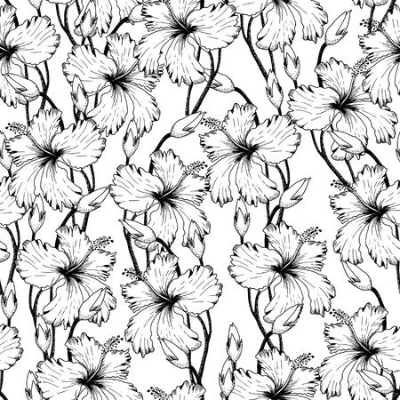 Ilustración del vector del modelo de flores tropicales sin fisuras en el estilo de dibujo para el diseño, fondo Flores del bosquejo, Banner. Modelo del verano Doodle. Elemento flor esbozo. Plantilla del patrón de flor. playa Botánica