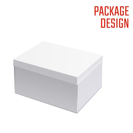 package sending: Vector Illustration of White Product Cardboard Package Box for Design, Website, Banner. Mockup Element Template for Your Brand or Product. White box Isolated on White Background