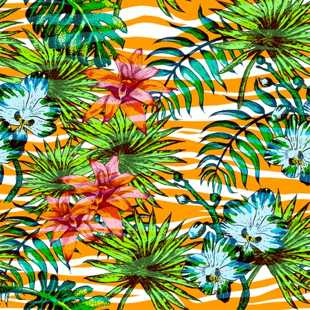 colors background: Vector Illustration of tropical Flowers and Palm in Sketch Style for Design, Website, Background, Banner. Doodle Summer Plant Element Template in color. Beach Botany Seamless Pattern Popart Illustration