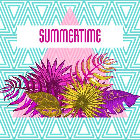 miami south beach: Vector Illustration of Vintage T-short Print. Summer on beach Illustration