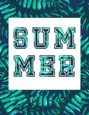 miami south beach: Vector Illustration of Vintage T-short Print. Summer on beach Stock Photo