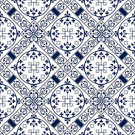 Vector Illustration of Moroccan tiles Seamless Pattern for Design, Website, Background, Banner. Spanish element for Wallpaper, Ceramic or Textile. Middle Ages Ornament Texture Template 向量圖像