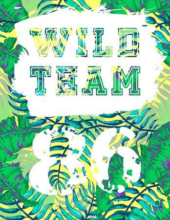 surf team: Vector Illustration of Vintage T-short Print. Summer on beach Illustration