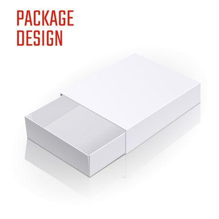 package sending: Vector Illustration of White Product Cardboard Package Box for Design, Website, Banner. Empty Mockup Element Template for Your Brand or Product. Isolated on White Background