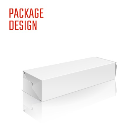 food tray: Illustration of Clear Craft Box for Design, Website, Background, Banner. Retail Folding package Template. Fold pack Blank for your brand on it