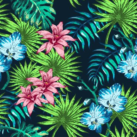 Ilustración del vector de las flores tropicales y palmeras en el estilo de dibujo para el diseño, Web site, fondo, bandera. Garabatos Plantilla elemento de la planta de verano en color. Playa Botánica Patrón sin fisuras Popart