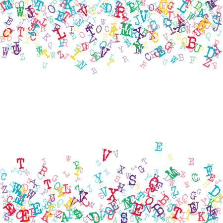 Vector Illustration of Alphabet Background for Design, Website, Banner. Letters ABC Element Template in black. Scattered Symbol Pattern