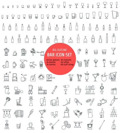 Ilustracja wektorowa z ikonek Konspekt do projektowania, Website, tło, transparent. Sylwetka Element Alcohol Infographic. Szablon menu dla restauracji lub kawiarni. Barman rzeczy i inwentaryzacja