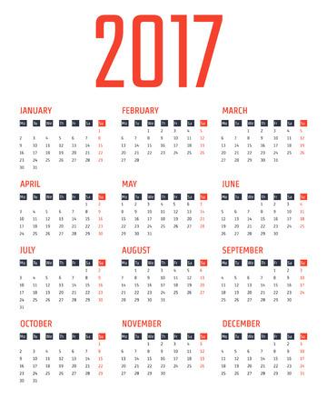 calender design: Vector Illustration of flat calendar 2017 for Design, Website, Background, Banner. Minimalism Template for your company brand Calender