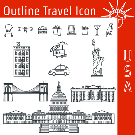 congress: Vector Illustration of USA Icon Outline for Design, Website, Background, Banner. Tourism American Landmarks Element Template. Statue of Liberty, White House, Congress of the United States