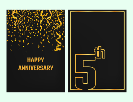 commemoration: Vector Illustration of Anniversary 5th Outline for Design, Website, Background, Banner. Jubilee silhouette Element Template for festive greeting card. Shiny gold Confetti celebration