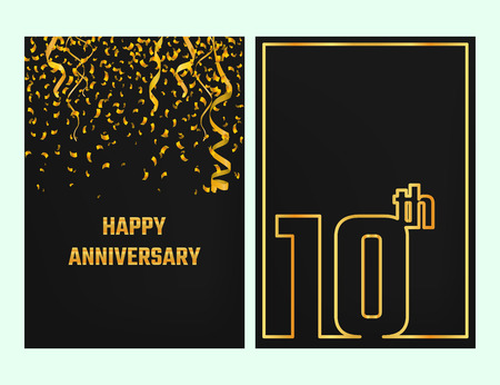 Vector Illustration of Anniversary 10th Outline for Design, Website, Background, Banner. Jubilee silhouette Element Template for festive greeting card. Shiny gold Confetti celebration Illusztráció