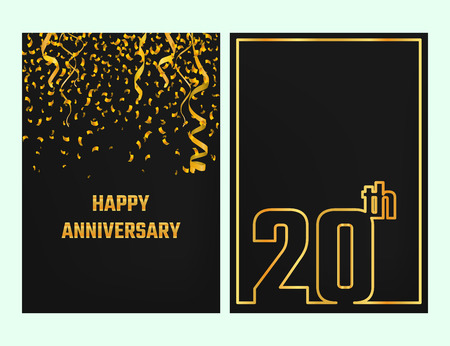 20th: Vector Illustration of Anniversary 20th Outline for Design, Website, Background, Banner. Jubilee silhouette Element Template for festive greeting card. Shiny gold Confetti celebration Illustration