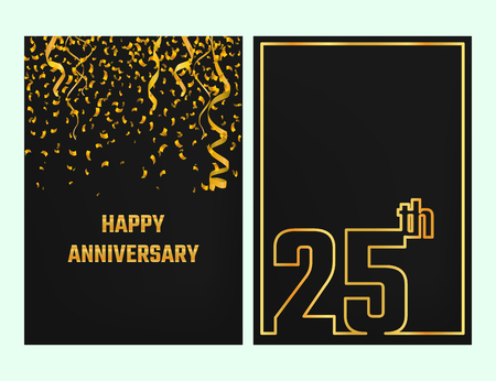 25th: Vector Illustration of Anniversary 25th Outline for Design, Website, Background, Banner. Jubilee silhouette Element Template for festive greeting card. Shiny gold Confetti celebration Illustration