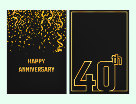 commemoration: Vector Illustration of Anniversary 40th Outline for Design, Website, Background, Banner. Jubilee silhouette Element Template for festive greeting card. Shiny gold Confetti celebration