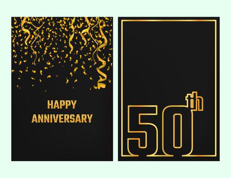 Illustrazione di vettore del 50 ° anniversario Outline per il Design, Website, sfondo, banner. silhouette Giubileo Element Template per biglietto di auguri di festa. oro lucido Confetti celebrazione Archivio Fotografico - 60632065