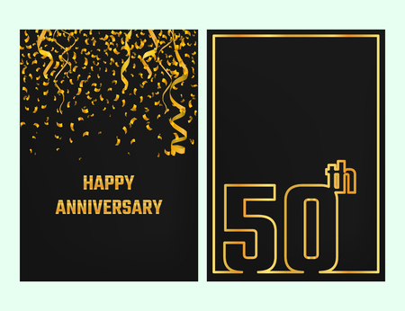 Vector Illustration of Anniversary 50th Outline for Design, Website, Background, Banner. Jubilee silhouette Element Template for festive greeting card. Shiny gold Confetti celebration