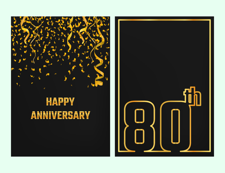 streamers: Vector Illustration of Anniversary 80th Outline for Design, Website, Background, Banner. Jubilee silhouette Element Template for festive greeting card. Shiny gold Confetti celebration