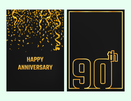 90th: Vector Illustration of Anniversary 90th Outline for Design, Website, Background, Banner. Jubilee silhouette Element Template for festive greeting card. Shiny gold Confetti celebration Illustration