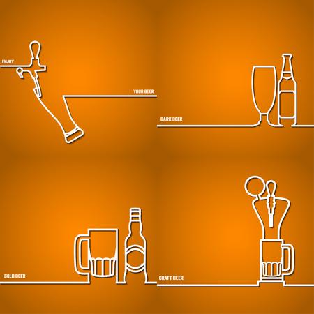 Vector Illustration Of Beer outline for Design, Website, Background Banner. Restaurant, Cafe Menu Template on Orange. Prepare Beverage Infographic. Bar Symbol