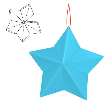 die line: Vector Illustration of hand made craft Christmas decoration for Design, Website, Background, Banner. Toy New Year Template. Paper star gift box with die line for your brand on it