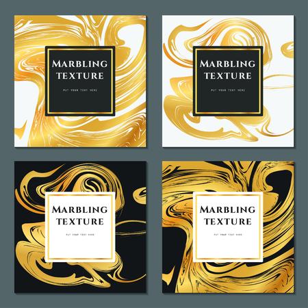 Illustrazione vettoriale di marmorizzazione texture per il design, sito web, sfondo, banner. Inchiostro Template elemento liquido. Modello Acquerello. Oro, bianco e nero Greeting Card Archivio Fotografico - 62187740