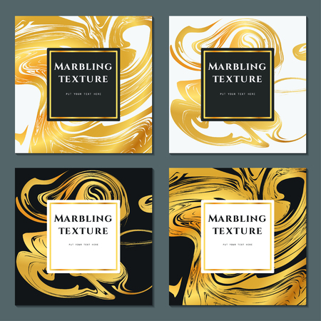 Ilustración del vector de Marbling la textura por diseño, Web site, fondo, bandera. Plantilla de tinta líquido elemento. Patrón de la acuarela. Oro, blanco y tarjeta de felicitación Negro