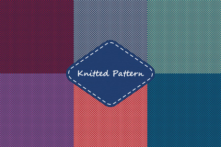 Vector Illustration of Set  Knitted Seamless Pattern for Design, Website, Background, Banner. Ugly sweater textile Element Template