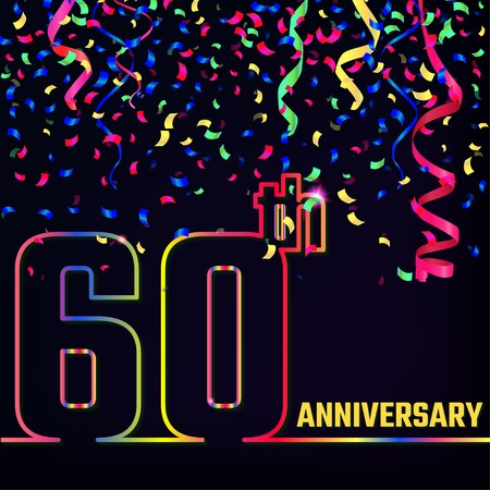 60th: Illustration of Anniversary 60th Outline for Design, Website, Background. Jubilee silhouette Element Template for festive greeting card. Shiny colorful Confetti celebration