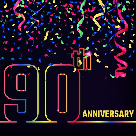 90th: Illustration of Anniversary 90th Outline for Design, Website, Background. Jubilee silhouette Element Template for festive greeting card. Shiny colorful Confetti celebration