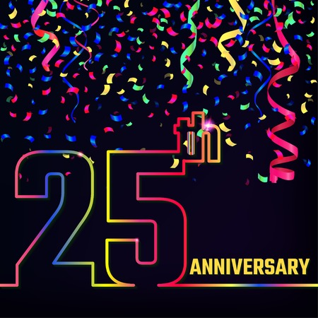 Illustration of Anniversary 25th Outline for Design, Website, Background. Jubilee silhouette Element Template for festive greeting card. Shiny gold Confetti celebration