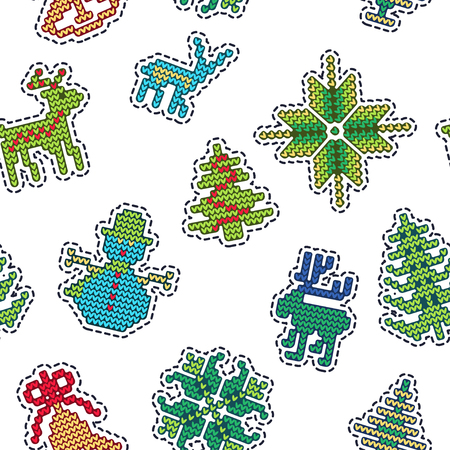 diecut: Vector Illustration of Ugly sweater Xmas Patches SEamless Pattern for Design, Website, background, Banner. Merry Christmas Knitted Retro Stickers with Deer, snowflake bell, Template