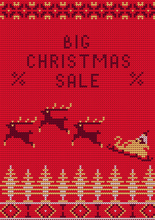 santa sleigh: Illustration of Knitted Sweater Sale card for Design, Website, Banner. Big Christmas Discount Template. Seasons Sale Poster.