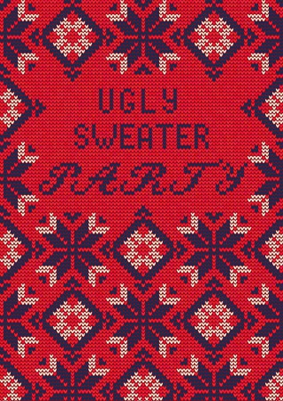 Illustration of Ugly Sweater Party Greeting card for Design, Website, , Banner. Christmas  Template. Holiday Tacky Winter Poster. Illustration
