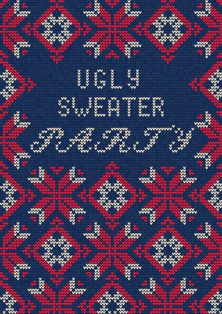 tacky: Illustration of Ugly Sweater Party Greeting card for Design, Website,  Banner. Christmas  Template. Holiday Tacky Winter Poster.