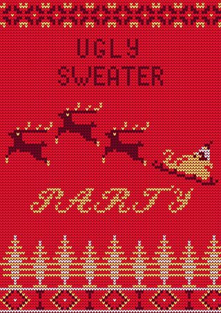 tacky: Illustration of Ugly Sweater Party Greeting card for Design, Website, , Banner. Christmas  Template. Holiday Tacky Winter Poster. Illustration