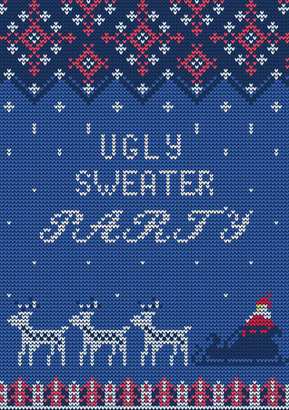 tacky: VIllustration of Ugly Sweater Party Greeting card for Design, Website, , Banner. Christmas Template. Holiday Tacky Winter Poster. Illustration