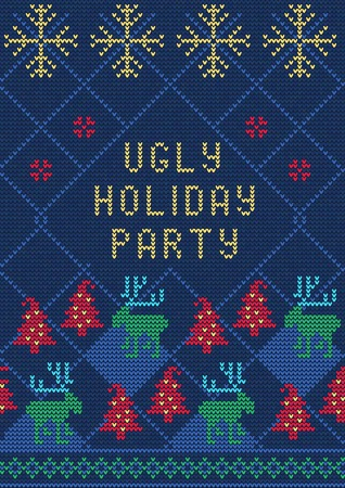 tacky: Vector Illustration of Ugly Sweater Party Greeting card for Design, Website,, Banner. Christmas Flyer Template. Holiday Tacky Winter Poster.