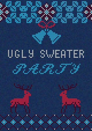tacky: Vector Illustration of Ugly Sweater Party Greeting card for Design, Website, Banner. Christmas Flyer Template. Holiday Tacky Winter Poster.
