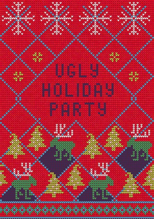 Vector Illustration of Ugly Sweater Party Greeting card for Design, Website,  Banner. Christmas Flyer Template. Holiday Tacky Winter Poster.