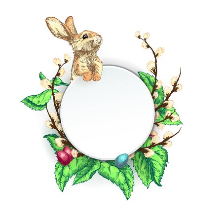 Bunny with easter eggs Template Design