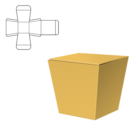 Folding Pack 3d vector illustration for chinese take out Illustration