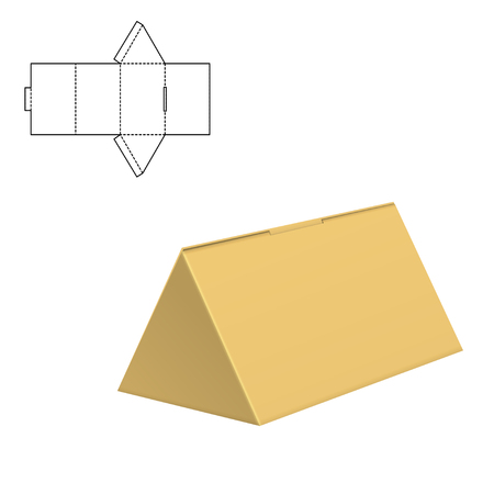 Vector Illustration of Die cut Craft Box for Design. Retail Folding package Template.