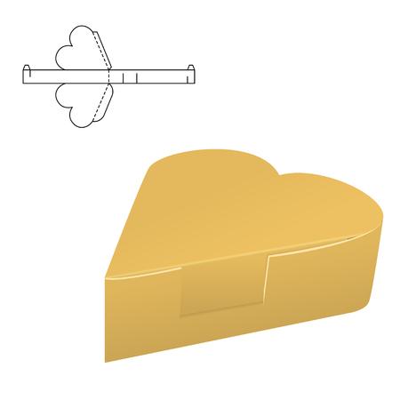 Folding Pack 3d vector illustration in heart shape