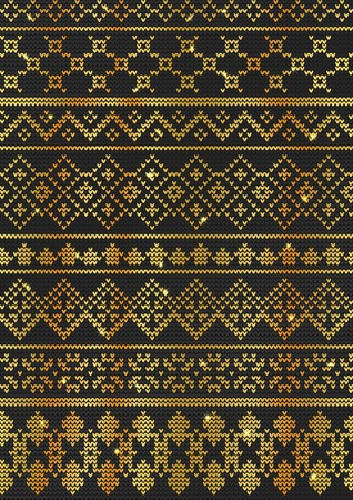 Vector Illustration of Gold Ugly sweater seamless Pattern for Design, Website, background, Banner. Merry christmas Knitted Retro cloth with Snowflake Element Template