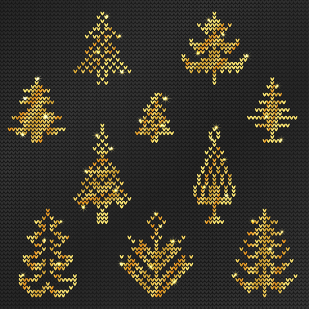 Vector Illustration of Gold Ugly sweater Pattern for Design, Website, background, Banner. Merry christmas Knitted Retro cloth with Christmas Tree Element Template