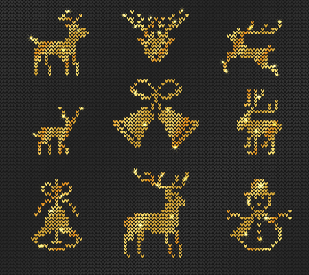 Vector Illustration of Gold Ugly sweater Pattern for Design, Website, background, Banner. Merry christmas Knitted Retro cloth with Deer Element Template Ilustração