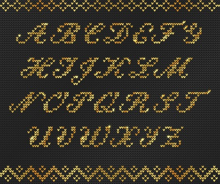 Vector Illustration of Gold Ugly sweater Font for Design, Website, Background, Banner. Merry christmas Knitted Retro ABC for your lettering or typography greeting card  イラスト・ベクター素材