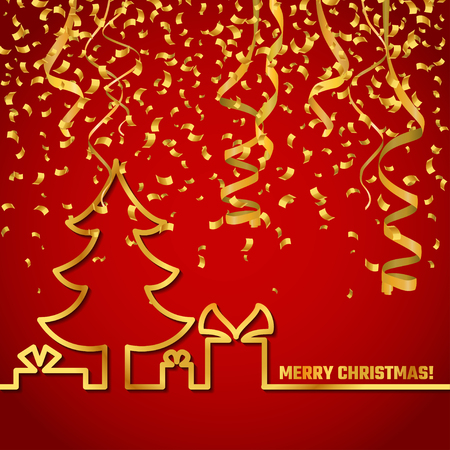 Vector Illustration of Christmas Outline BAckgound for Design, Website, Banner. New year and xmas Element Template. Christmas tree and box of gifts and present under it. Standard-Bild